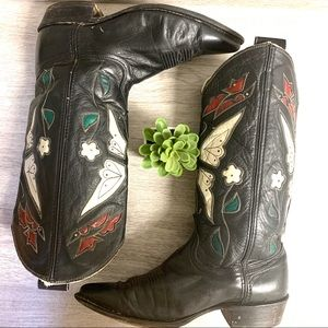ACME 1950s Vintage Inlay Butterfly Cowboy Boots